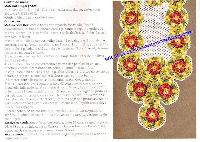 croche com receitas caminho de mesa em croche floral receitas e gráficos