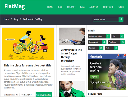FlatMag Responsive Blogger Template