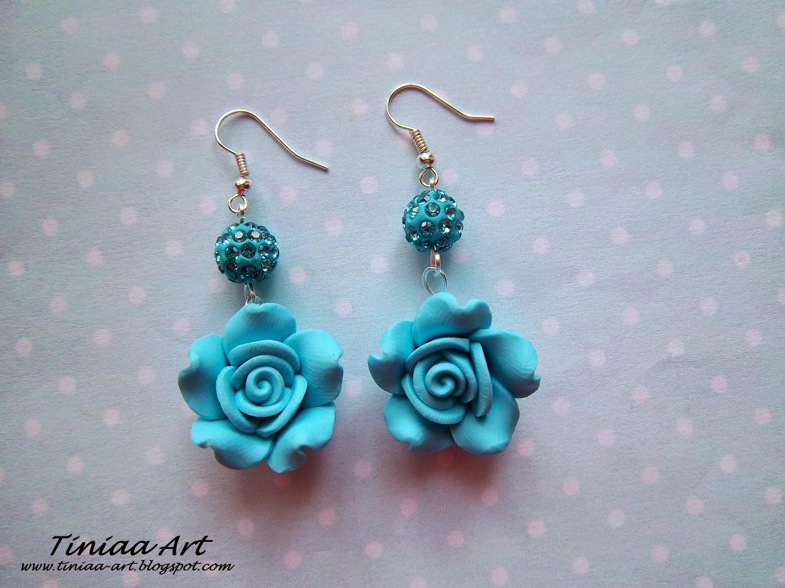 kolczyki niebieskie róże