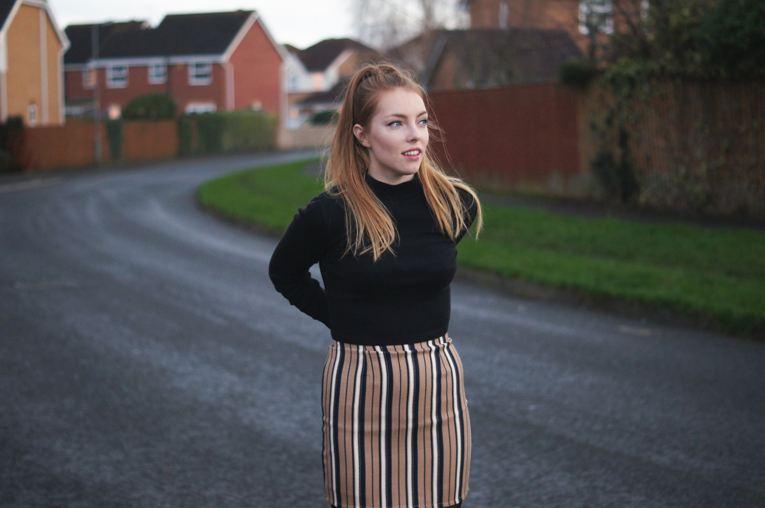 missguided mini skirt and turtle neck