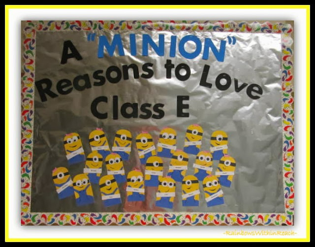 "Back to School Bulletin Board with ""Minion"" Theme at RainbowsWithinReach"
