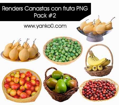Renders, PNG, Canastas con fruta, diseño