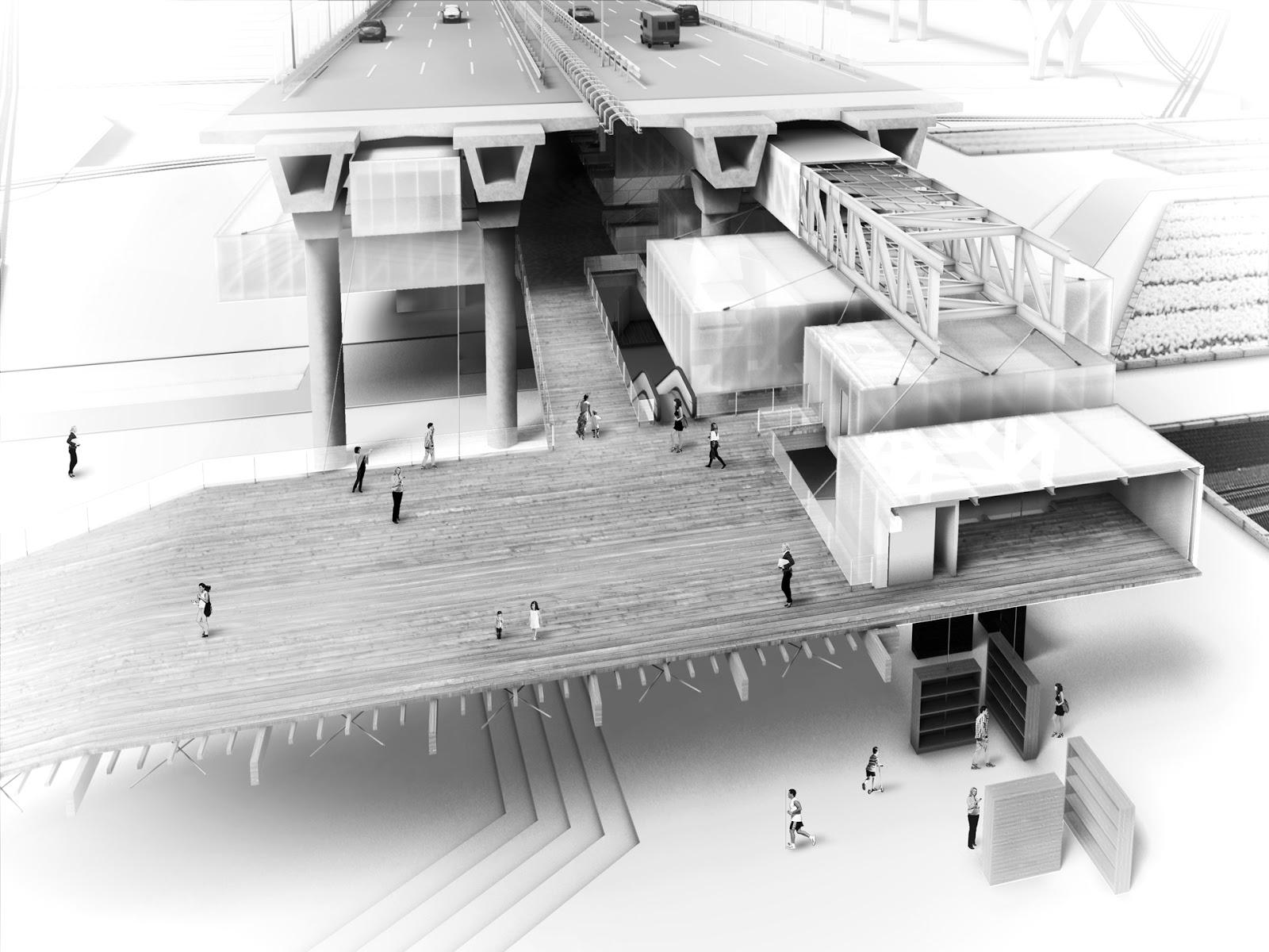 RENDERS 3D PFC - Sección 3D Perspectiva del Mercado Orgánico para el PFC de un alumno de la UEM - ETSAM UEM UCJC ESAYT USPCEU USP CEU IE UAX UAH UPM ETSA