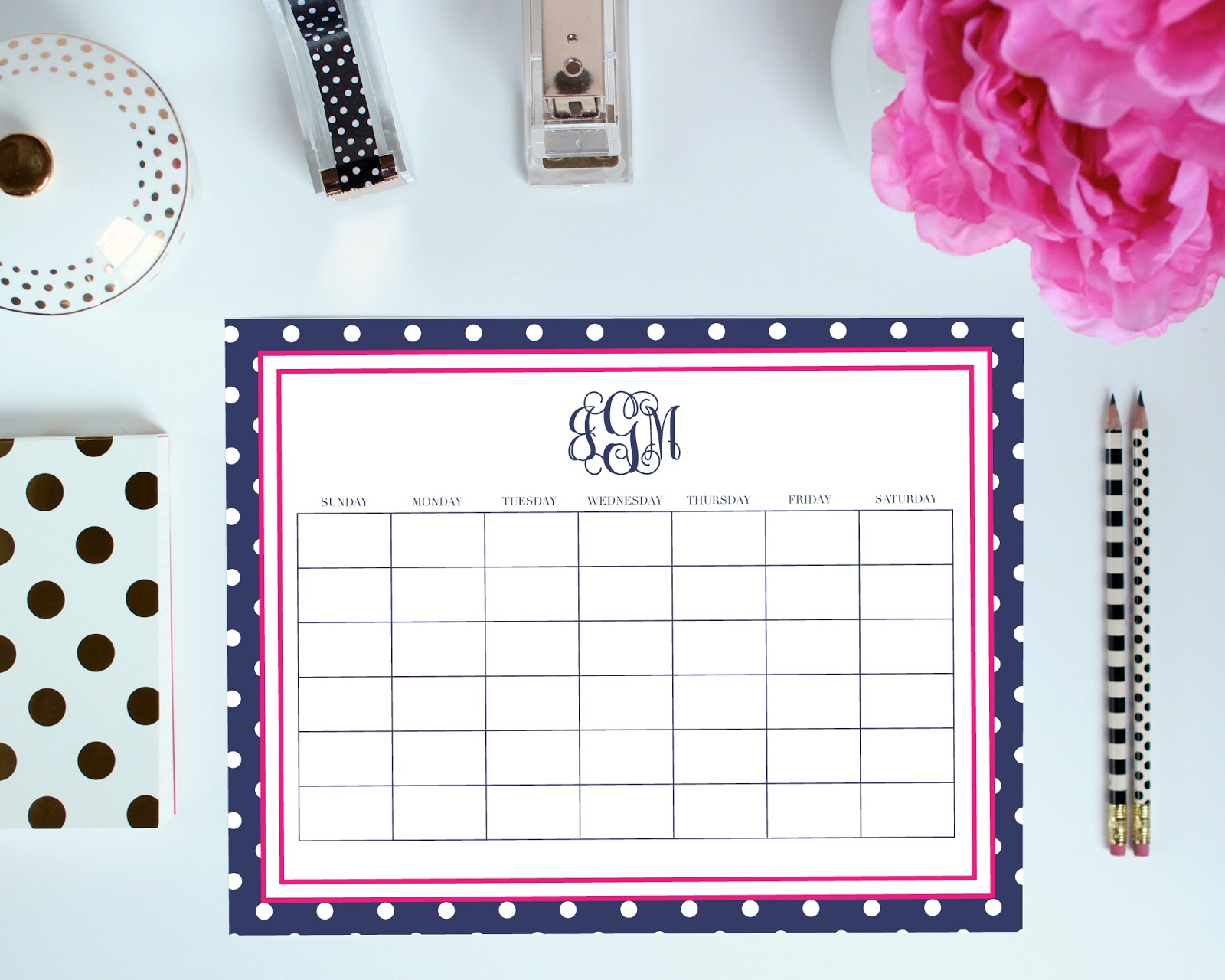 Monthly Layout - Printable Organization Pages can be customized with your monogram. You pick the colors, frame, font, and more!