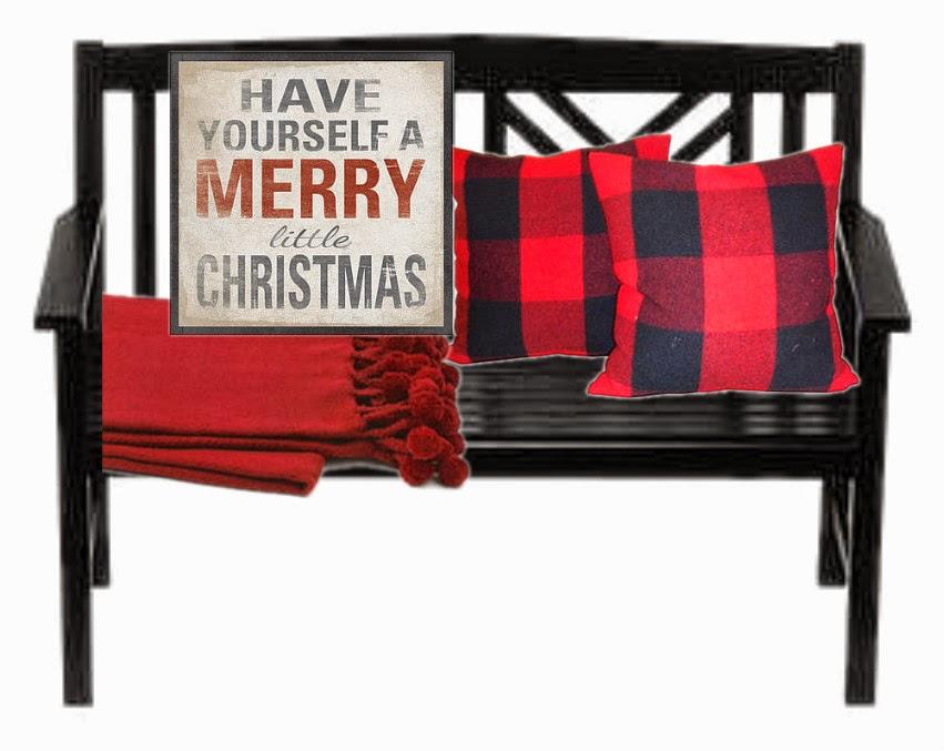black bench, plaid pillows, Christmas decorations, porch,