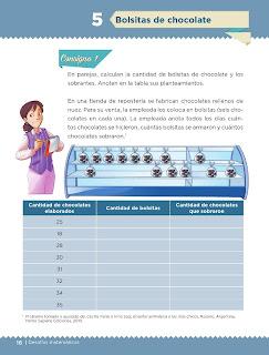Apoyo Primaria Desafíos matemáticos 5to grado Bloque I lección 5 Bolsitas de chocolate