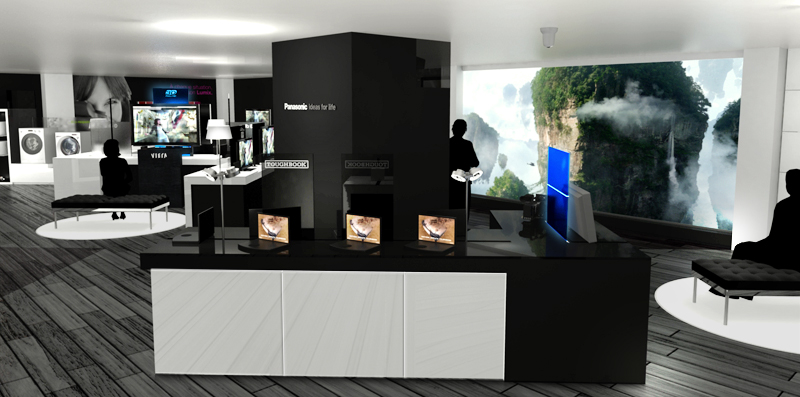 Image : 3D du showroom Panasonic France  Gennevilliers