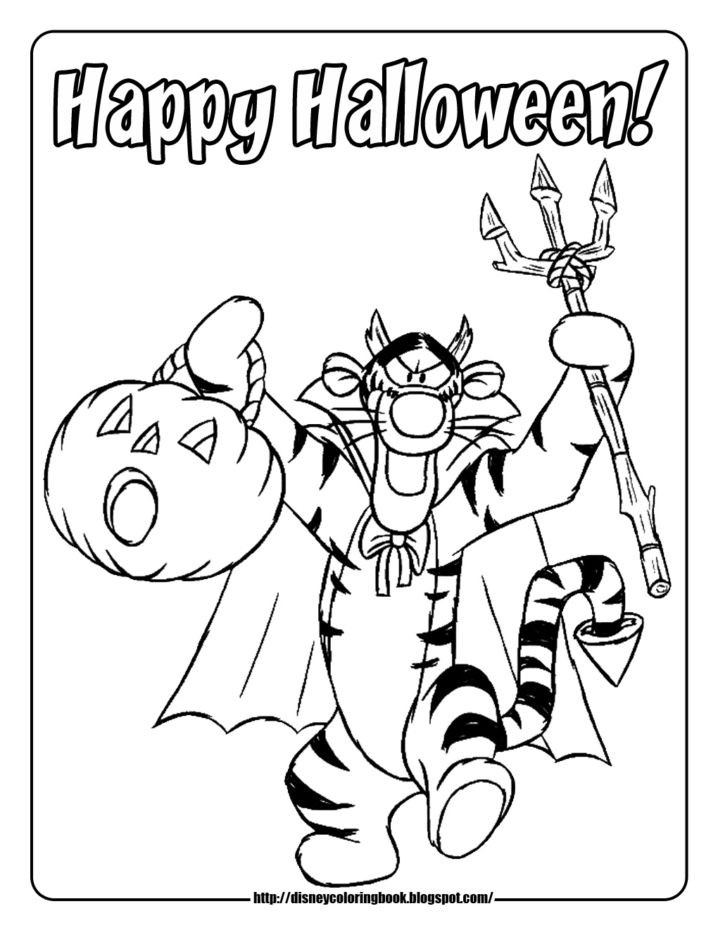 Disney Halloween Coloring Pages Piglet Pumpkin Happy Tigger