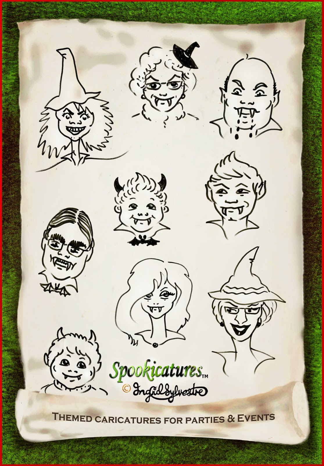 North East Caricaturist Ingrid Sylvestre Spookicatures Hallowe'en Caricatures Hallowe'en Entertainment North East UK Durham Newcastle Sunderland Middlesbrough Teesside Northumberland