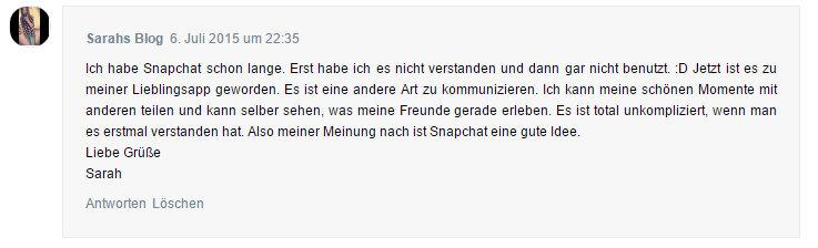 Sarahs Meinung über Snapchat
