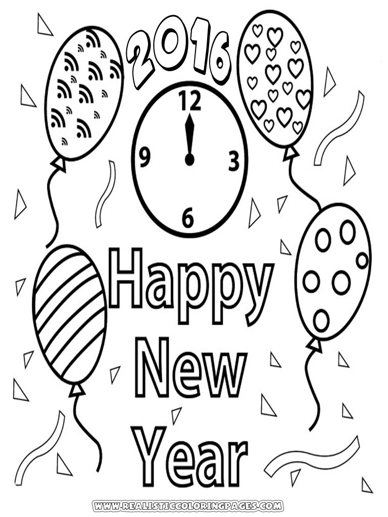 Coloring Pages Of Happy New Year 2016 Realistic Coloring