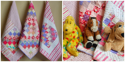 three different pink patchwork doll quilts posed with their three stuffed animal friends