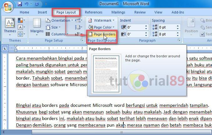 Cara menambahkan bingkai pada makalah atau buku di microsoft word