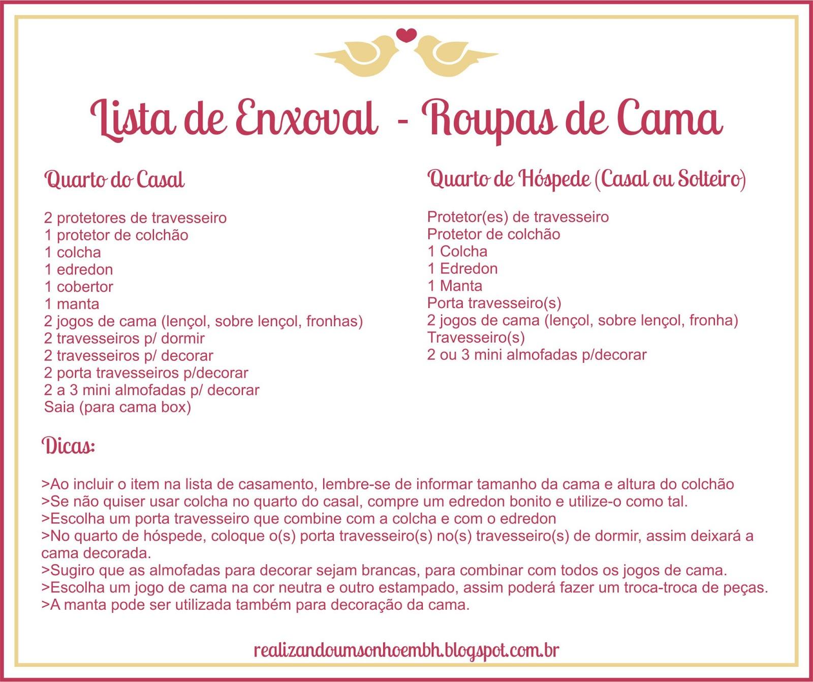 Lista De Enxoval De Casamento Simples Ur48 Ivango
