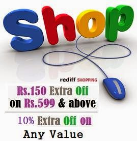 Rediff Shopping July'14 Coupon: Rs.150 off on Rs.599 & above | Flat 10% Off on Any Value (Valid on All Products @ Rediff Shopping)