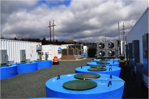 A 20-megawatt storage facility in Stephentown, New York uses 400 flywheels — which store electricity as kinetic energy — to modulate changes in power demand on the grid. (Credit: U.S. Department of Energy)  Click to enlarge.