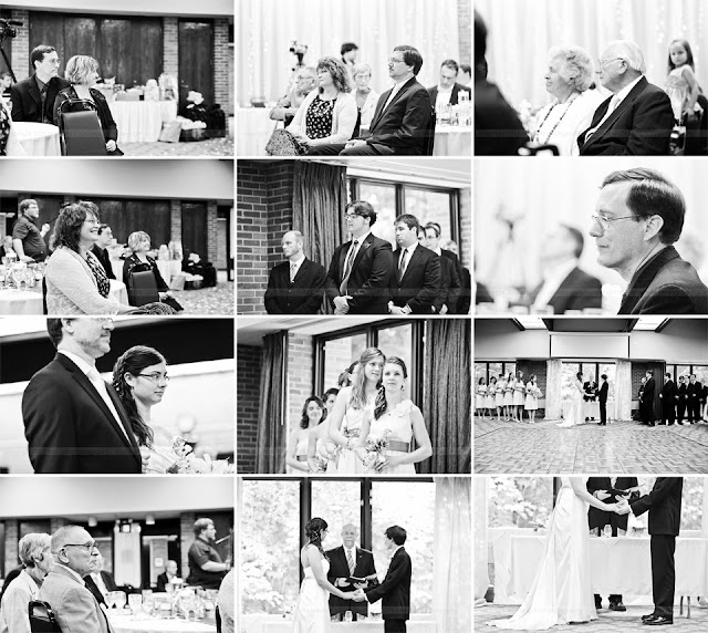 photos of bridal party, parents, and grandparents watching wedding ceremony