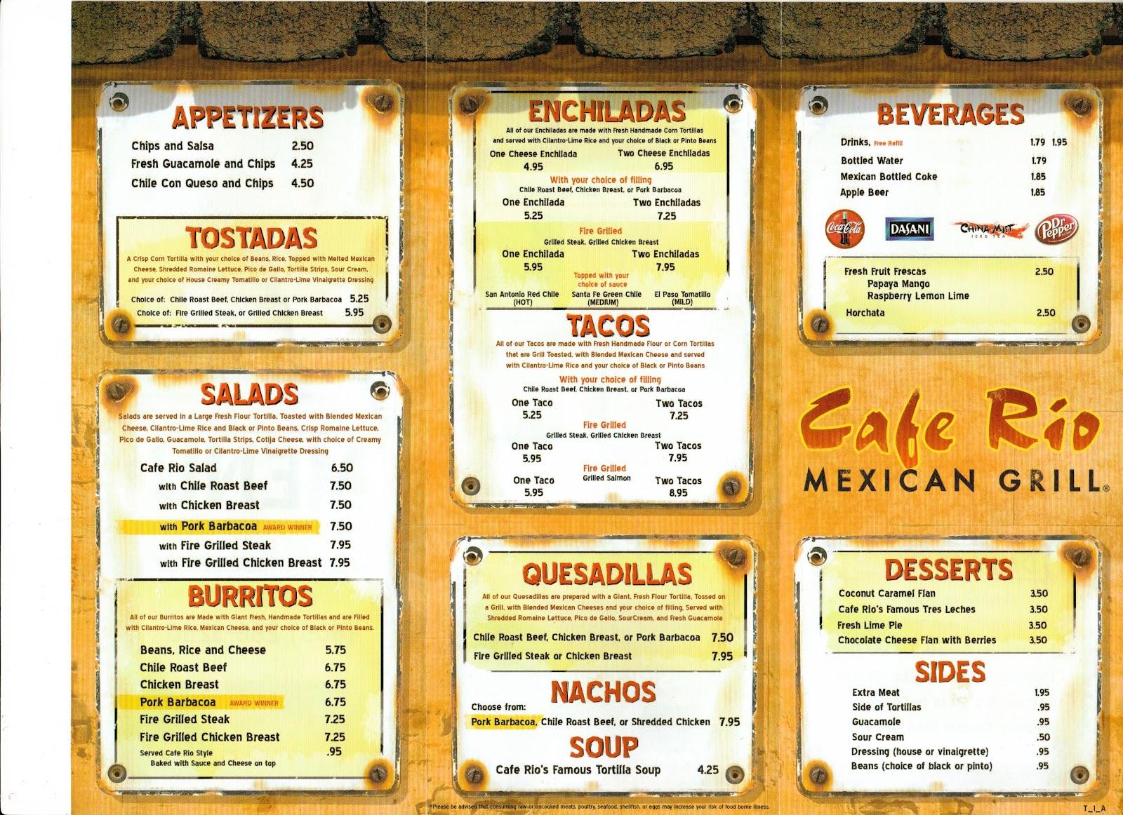 Cafe Rio Utah Menu
