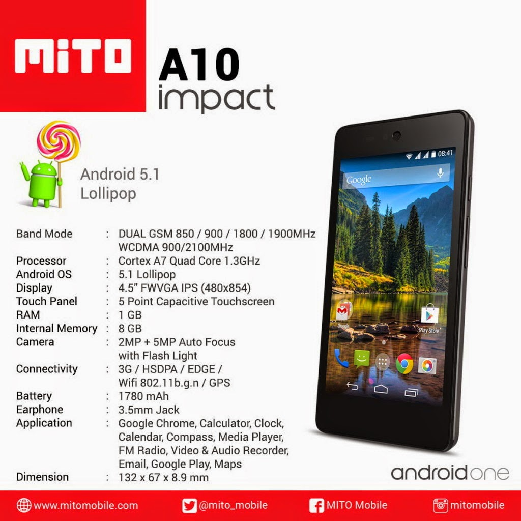 Mito Impact A10, Smartphone Android Lollipop Murah 2015