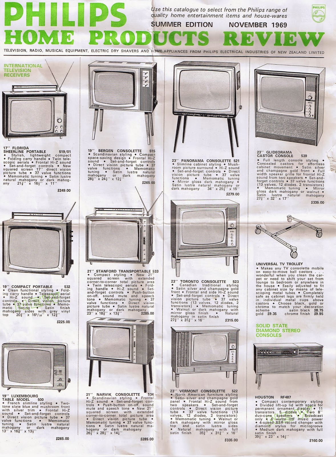 nz vintage tv radio philips home product catalogue. Black Bedroom Furniture Sets. Home Design Ideas