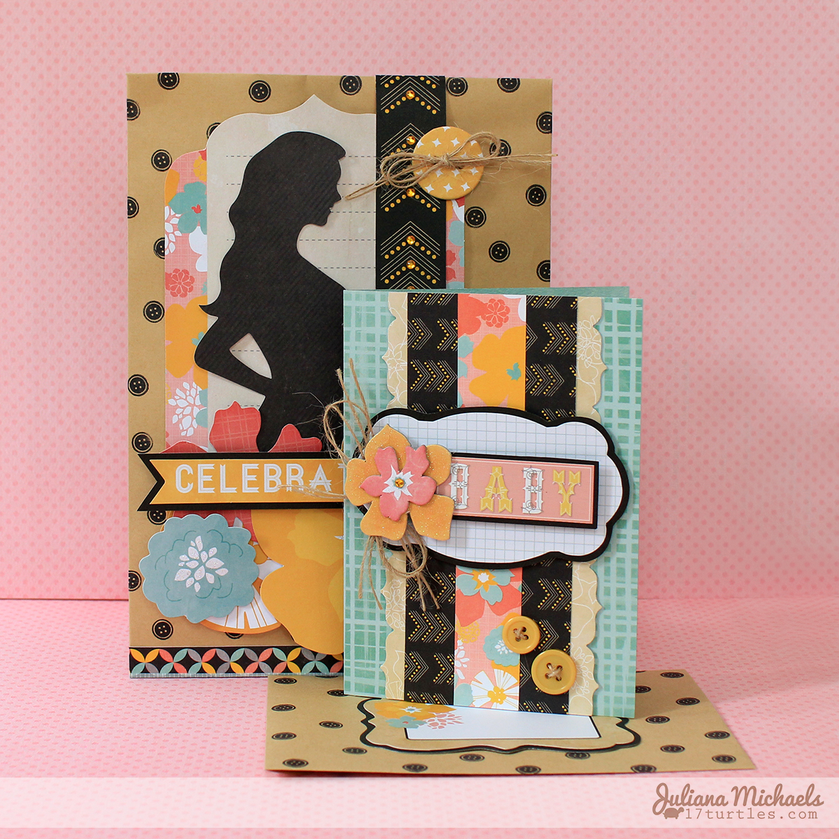 Baby Gift Wrap and Baby Card by Juliana Michaels featuring BoBunny Baby Bump Collection and Kraft Bags