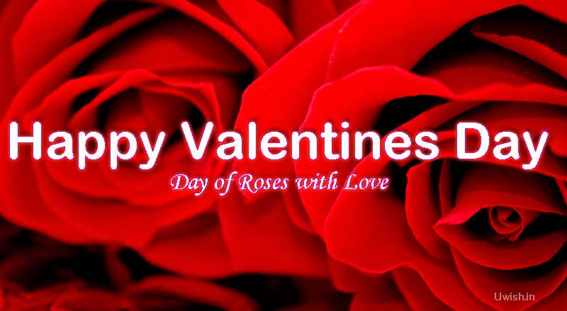Happy Valentines Day greetings and wishes with red roses