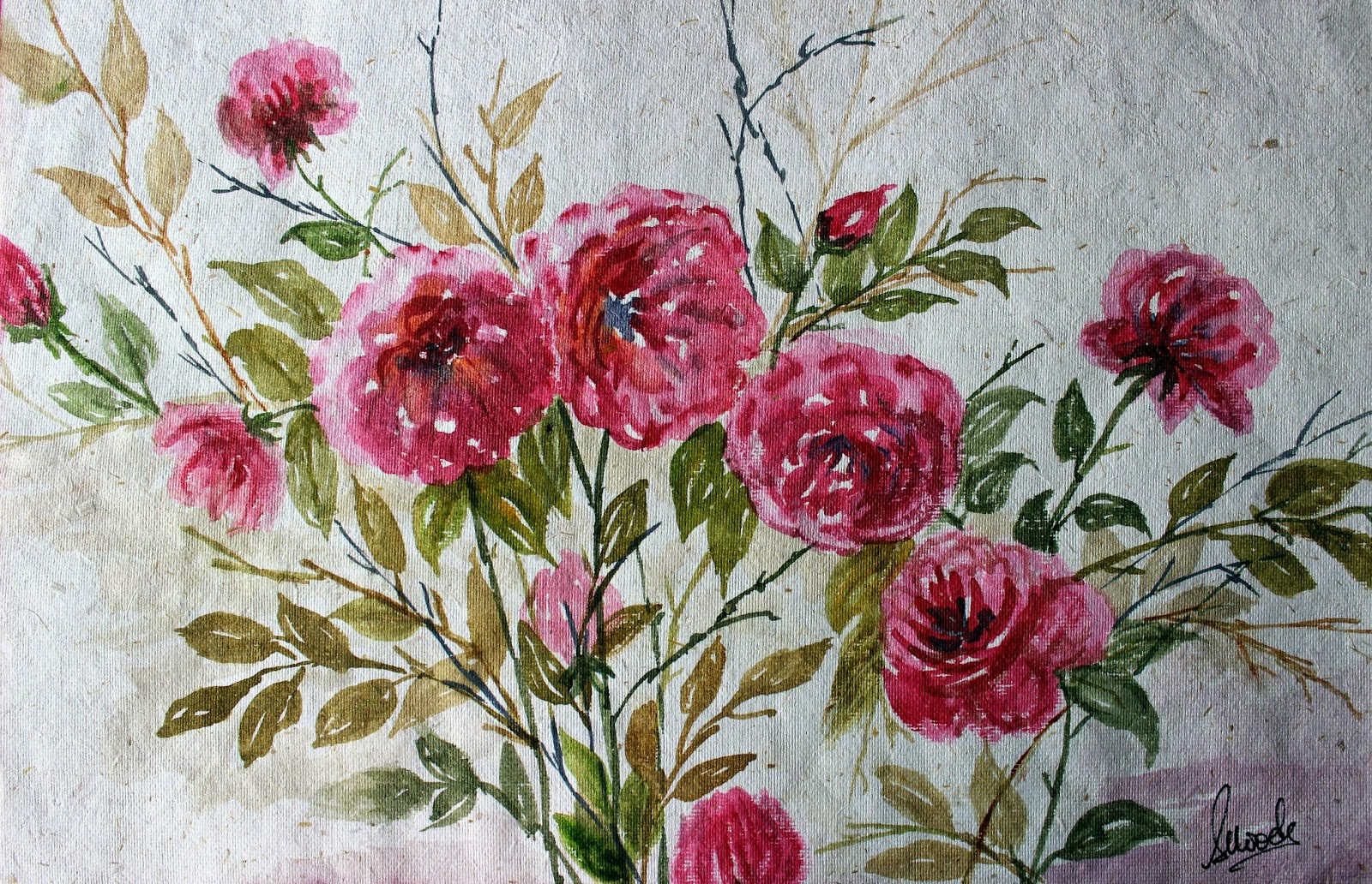 #roses #pink #buds #leaves #watercolor #garden #painting #blooming