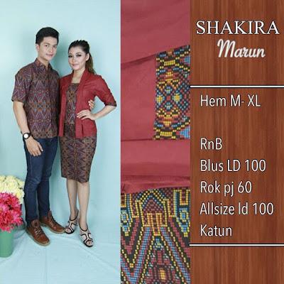 Baju Batik Pasangan Shakira Biru SP8095
