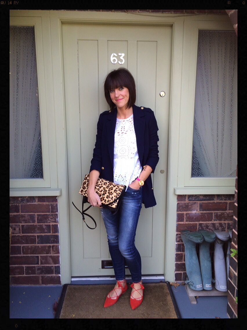 My Midlife Fashion, Navy Blazer, White Lace Top, Skinny Jeans, Statement Shoes, Zara, Office Shoes, Leopard Print, Animal Print