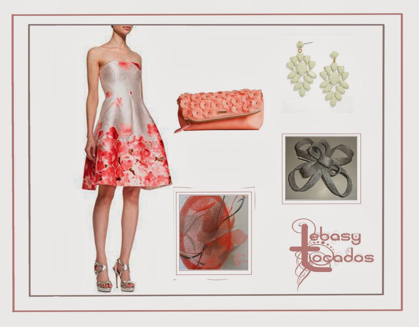 Look primaveral en gris y coral con tocados de Lebasy Tocados