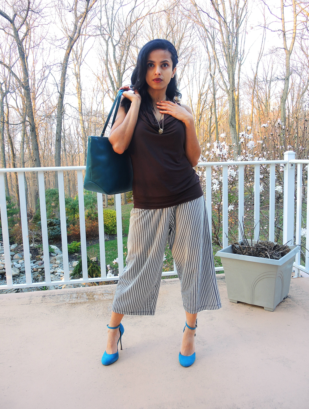 michael kors top, au revoir les filles necklace, nine west bag, culotte pants