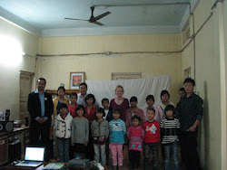 Tara with girls at the orphanage