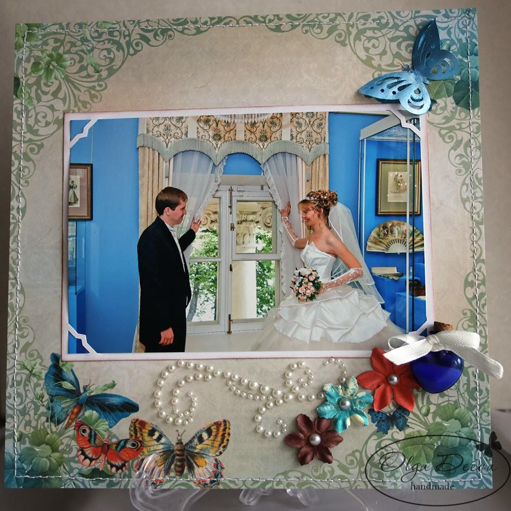 Свадебная скрап-страничка альбома, wedding layout