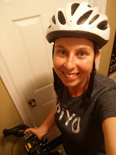The photo shows me with a bike helmet on on my way to piyo in the park.