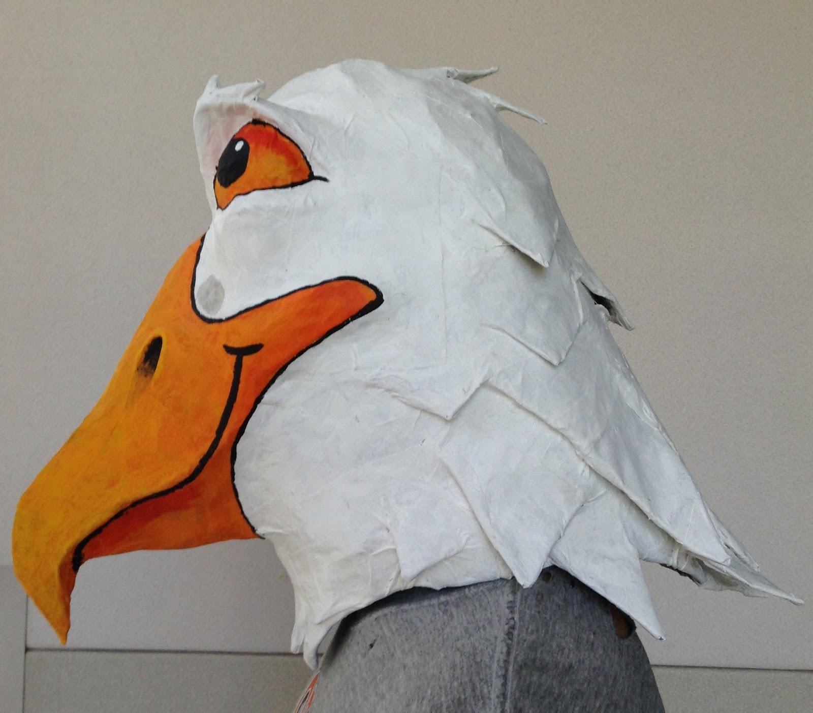 14er art   how to make a paper mache eagle mask