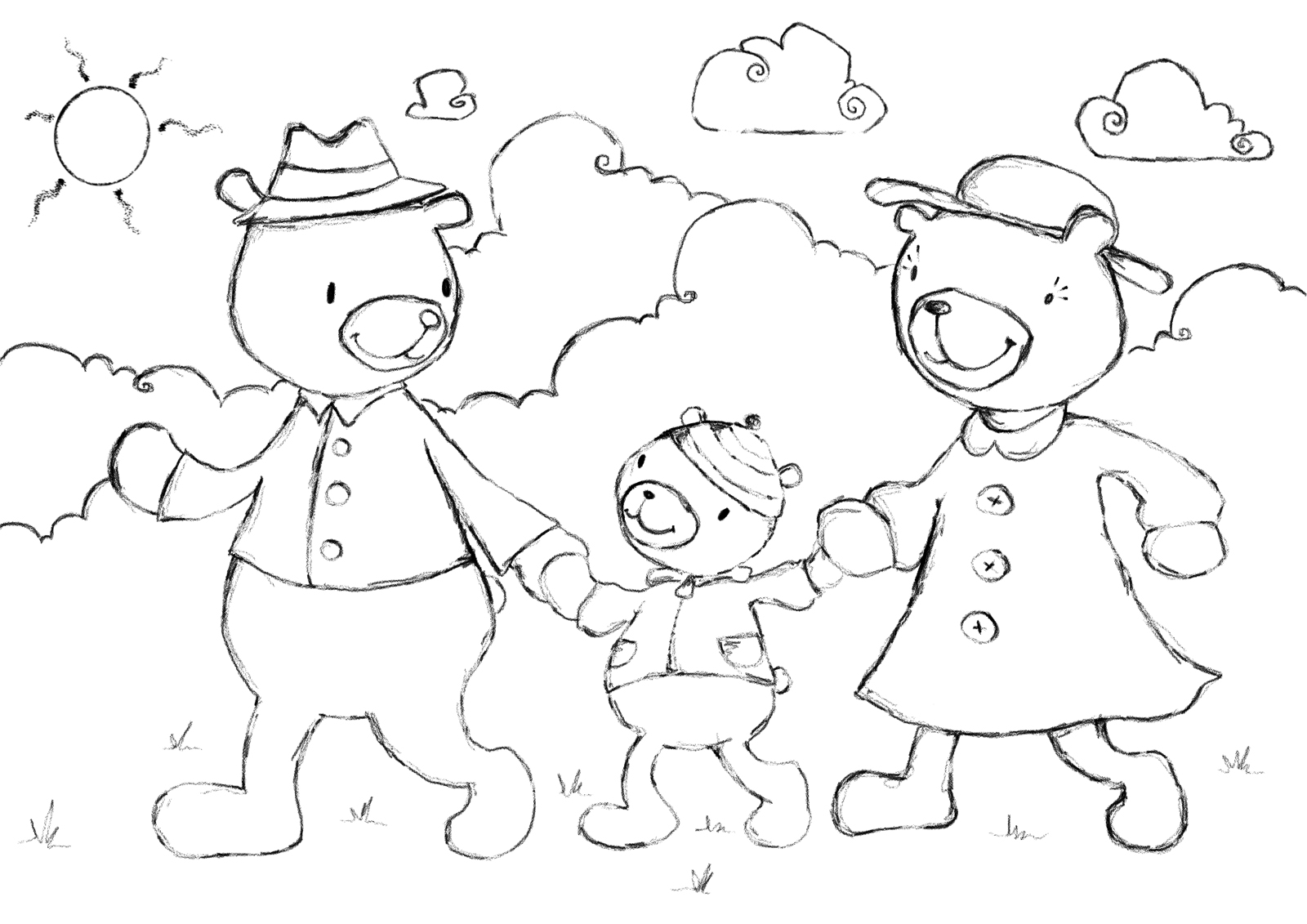 Free Coloring Pages Of The Three Bears Three Bears Coloring Pages