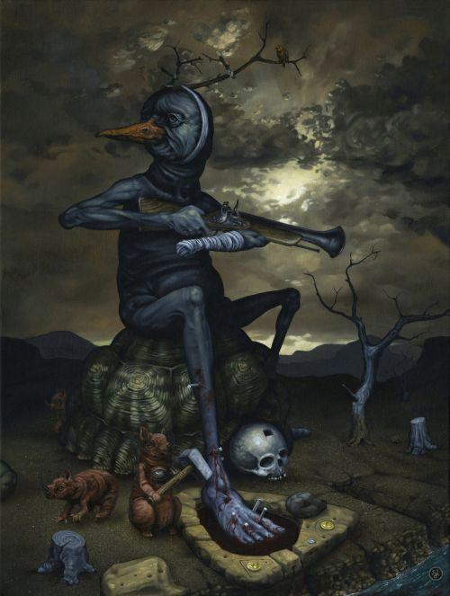 Jeff Christensen js4853 deviantart pinturas surreais sombrias Promessa de violência