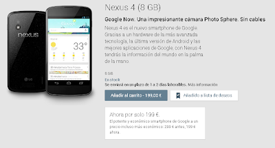 Oferta de Google Play, Nexus 4 por 199€