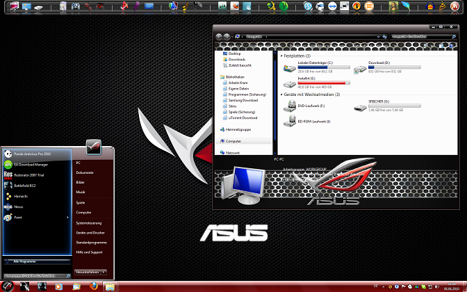 Applications Online Windows 7 Theme Asus Republic Of Gamers