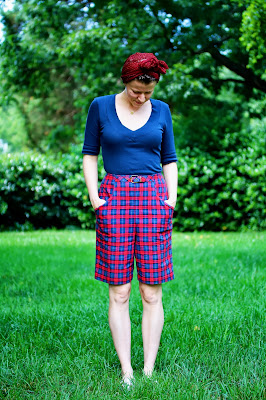 1950s high waist plaid shorts and scarf on ChatterBlossom