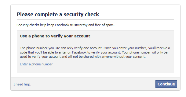 Facebook mobile verification bypass