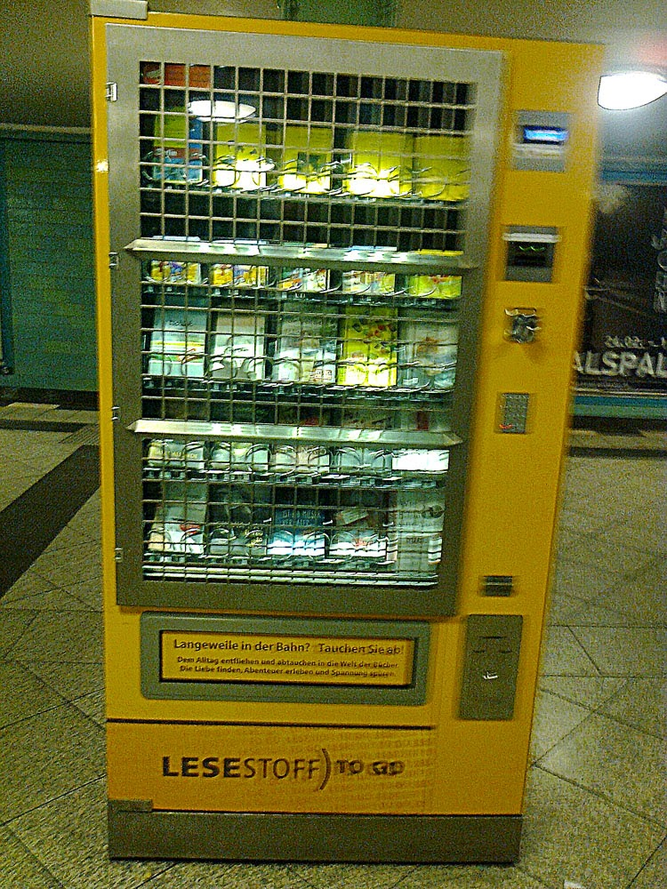 book vending machine on U8 at Alexanderplatz