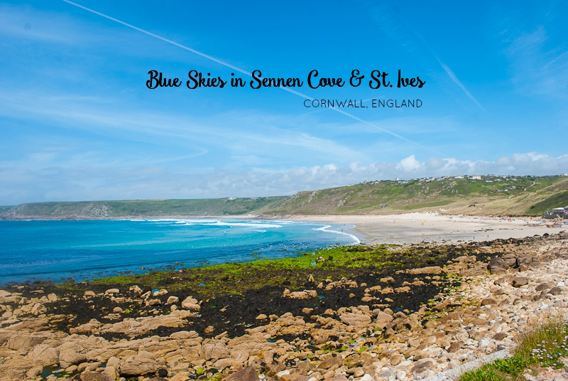 Blue Skies in sennen cove and visiting the town of st. ives in Cornwall, England, UK