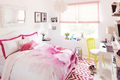 Quarto de casal cor de rosa