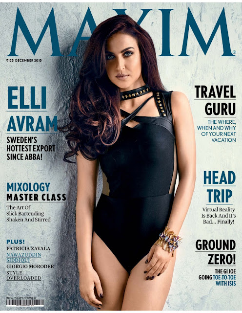 Actress, @ Elli Avram - Maxim India, December 2015