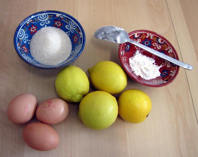 Les ingrédients de crème au citron