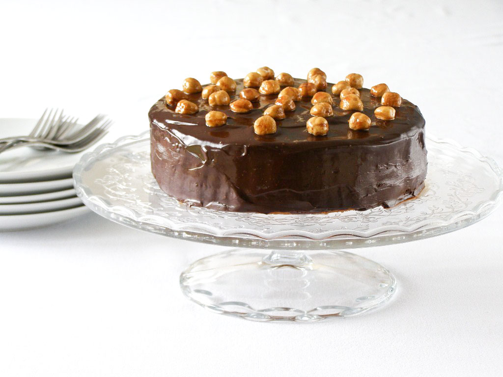 Spiced Hazelnut Cake with a Mocha Frangelico Mousse filling, covered ...