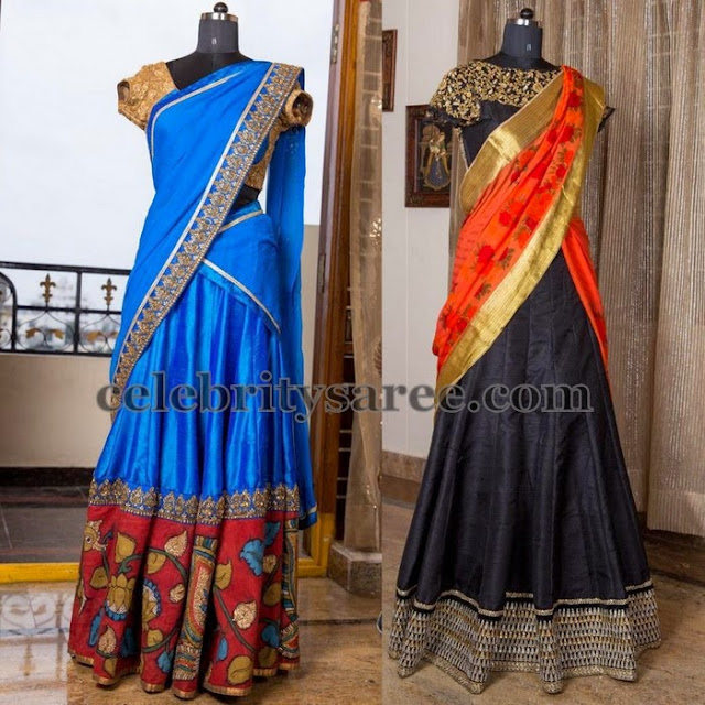 Pretty Half Sarees High Neck Blouses