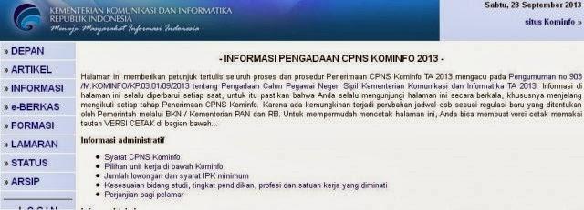 Pendaftaran Online CPNS Kementrian Kominfo