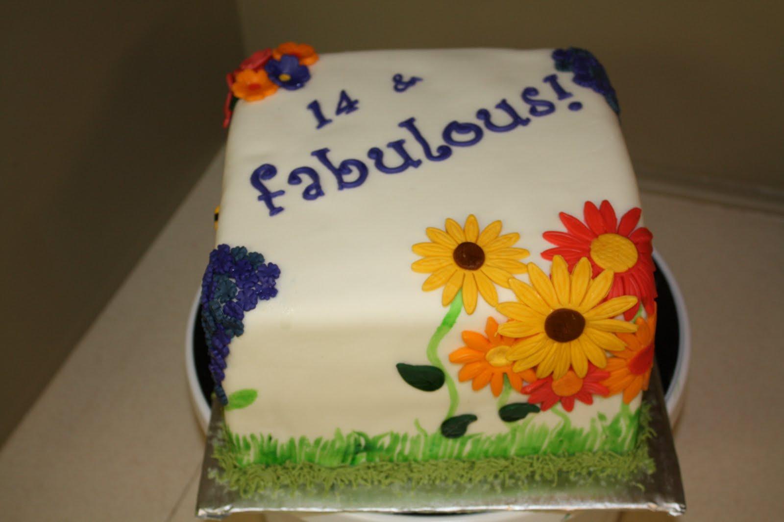 Two Sweet Bakery 14th Birthday Spring Flower Fondant Cake